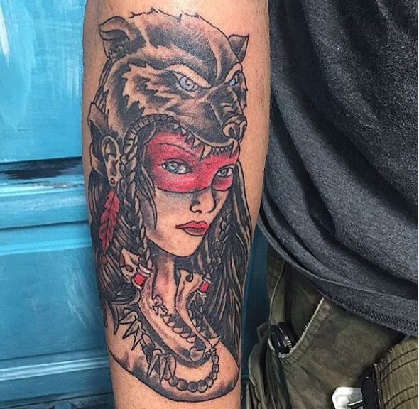 Aztec Indian Warrior Tattoos Design For Men