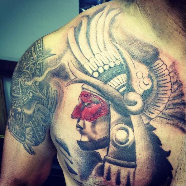 Aztec Man Tattoos Design On Chest