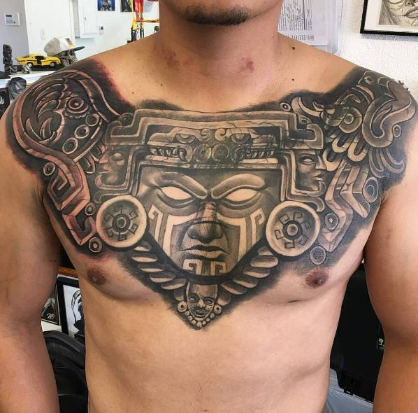 Aztec Piece Chest Tattoos Design