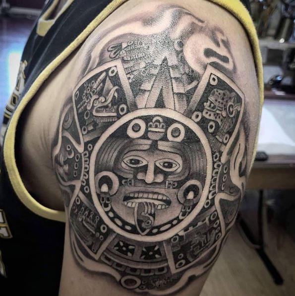 Aztec Tattoos Design On Biceps