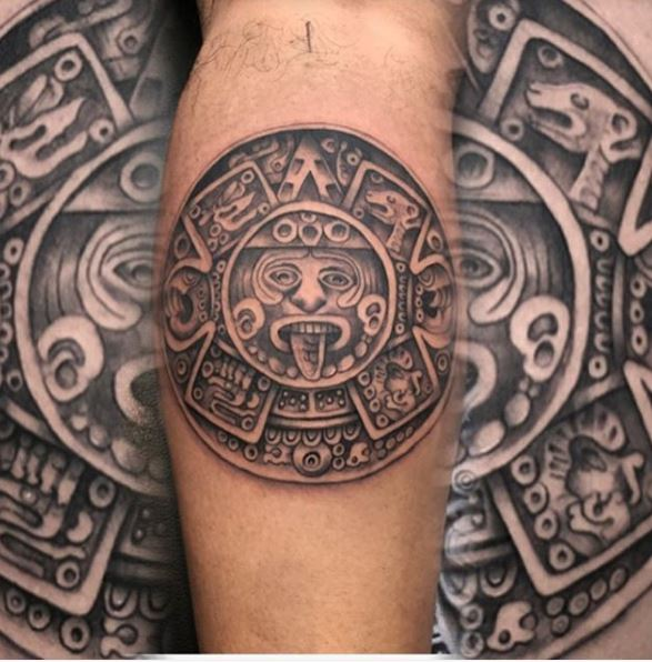 Aztec Tattoos Design On Calf