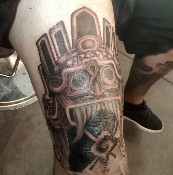 Aztec Tattoos Design On Thigh
