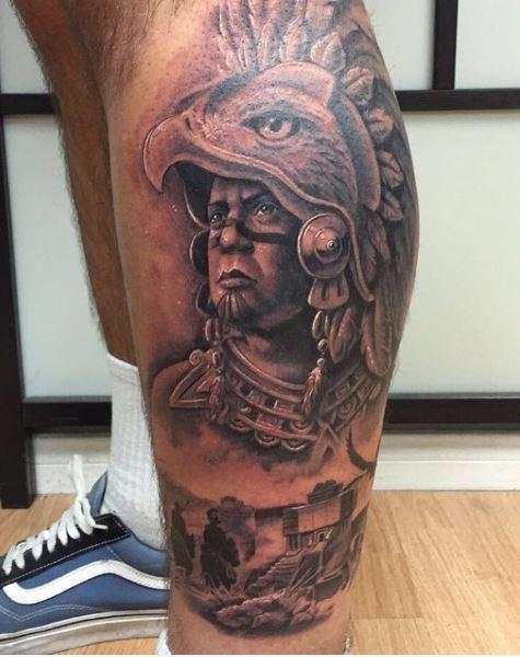 Aztec Worrier Tattoos Design On Calf