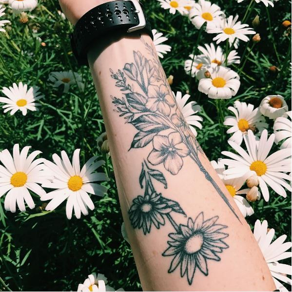 Beautiful Floral Tattoos Design On Forearm