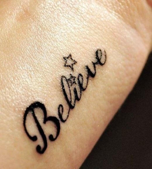 Belive One Word Tattoos Design On Wrist