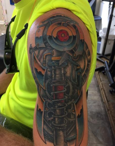 Bio Mechanical Tattoo On Arm 10