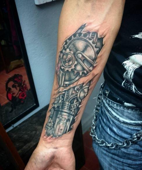Bio Mechanical Tattoo On Arm 13
