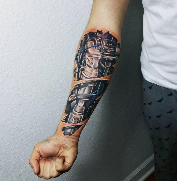 Bio Mechanical Tattoo On Arm 15