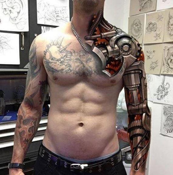 Bio Mechanical Tattoo On Arm 17