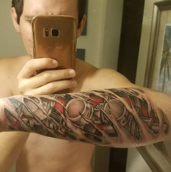 Bio Mechanical Tattoo On Arm 18