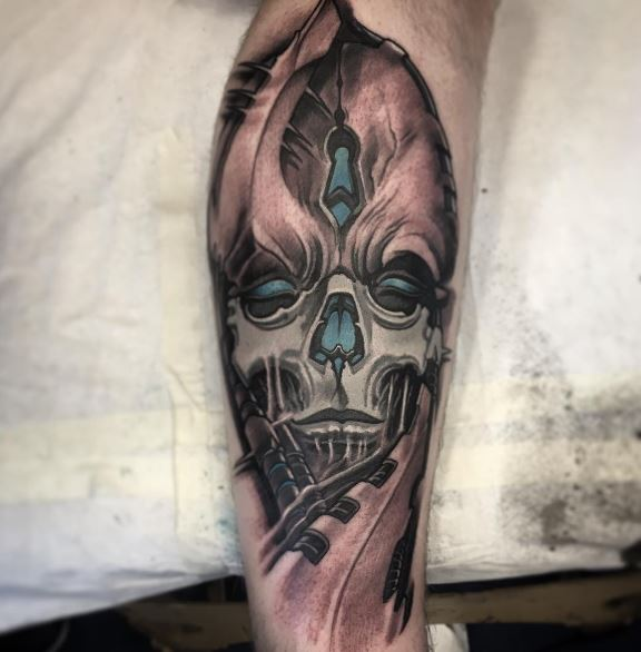 Bio Mechanical Tattoo On Arm 21