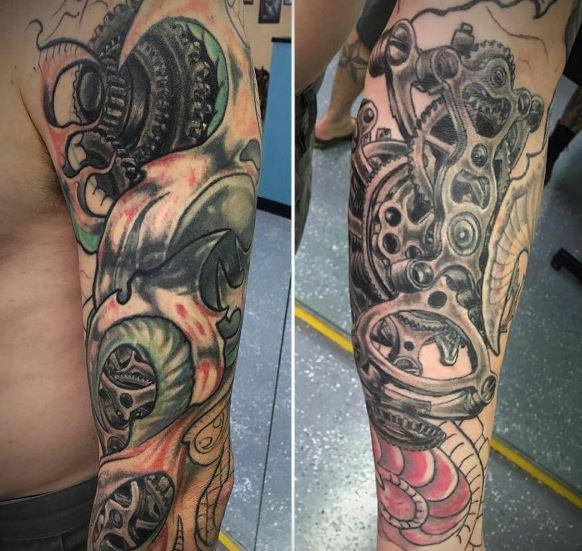 Bio Mechanical Tattoo On Arm 26