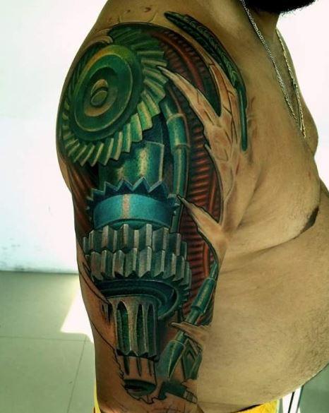 Bio Mechanical Tattoo On Arm 29