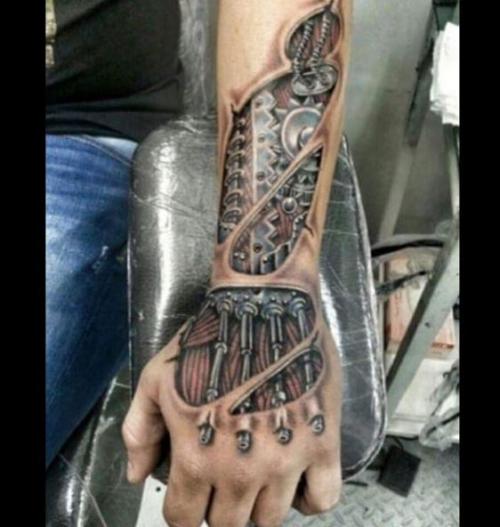Bio Mechanical Tattoo On Arm 30