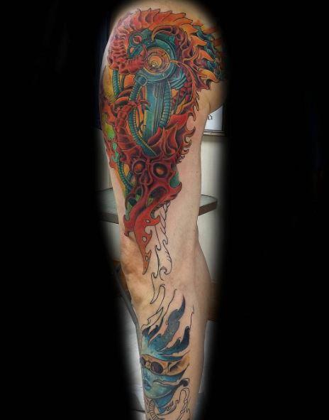 Bio Mechanical Tattoo On Arm 32