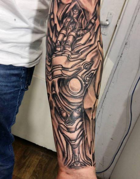 Bio Mechanical Tattoo On Arm 8