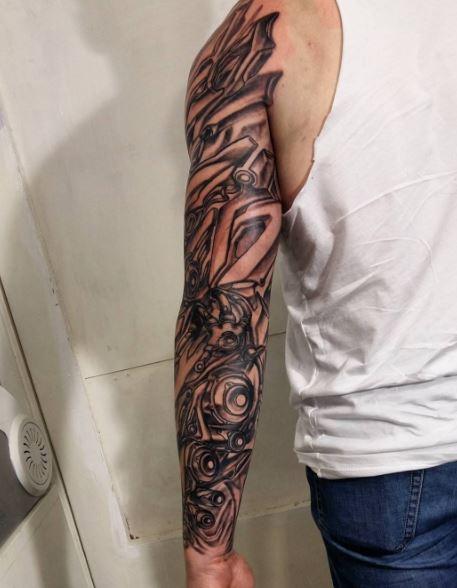 Bio Mechanical Tattoo On Arm 9