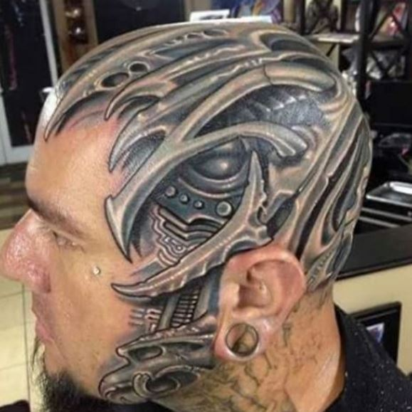 Bio Mechanical Tattoo On Head