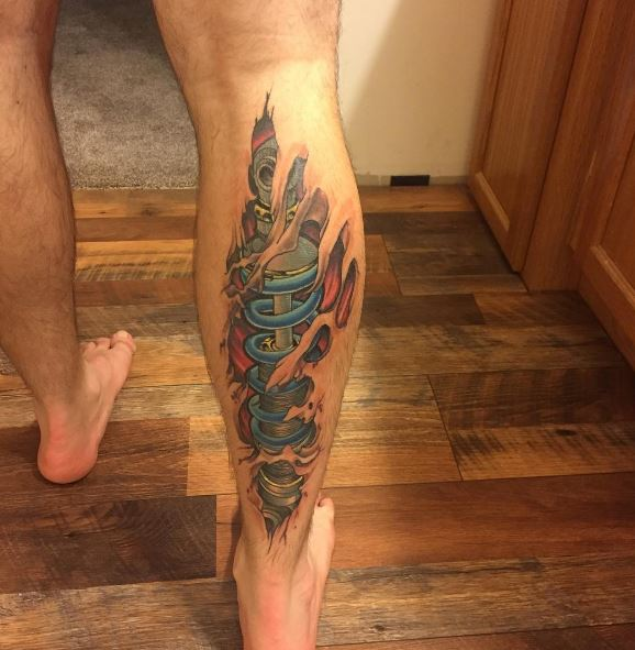 Bio Mechanical Tattoo On Leg 3