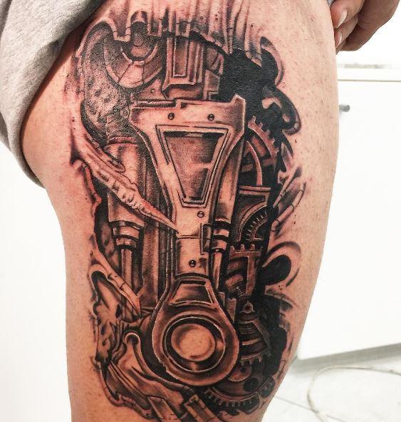 Bio Mechanical Tattoo On Leg 5