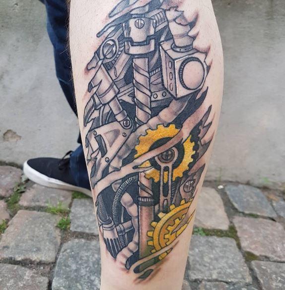 Bio Mechanical Tattoo On Leg