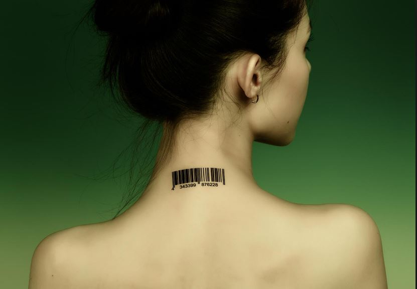 Black Barcode Tattoo On Girl Back Neck