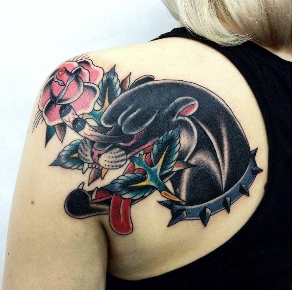 Black Cat Tattoos Design On Women Shoulder