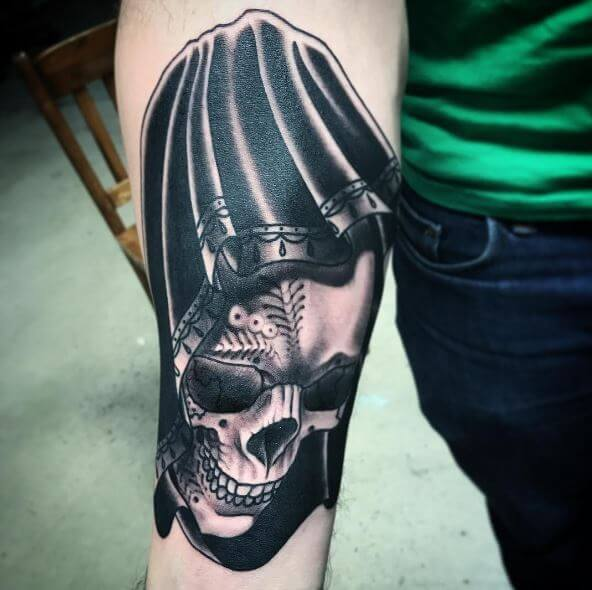 Black Color Grim Reaper Tattoos Design