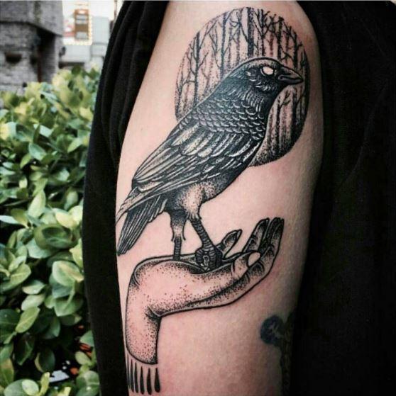 Black Crow Tattoos Deesign On Shoulder