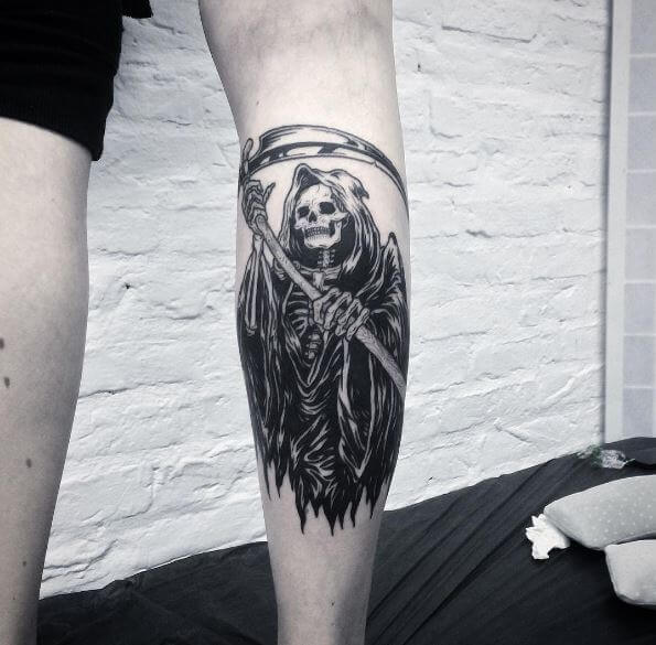 Black And White Grim Reaper Tattoos Design And Idea