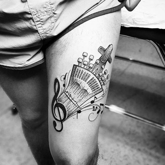 Black Tattoo On Leg