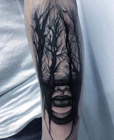 Black Work Tattoo On Arm 17