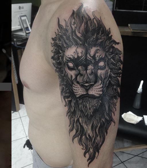 Black Work Tattoo On Arm 19