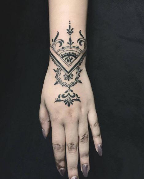 Black Work Tattoo On Wrist