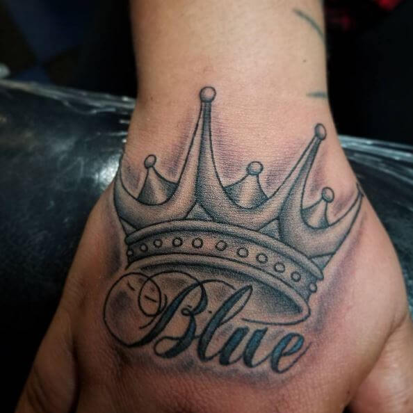 Blue One Word Tattoos Design With King Crown