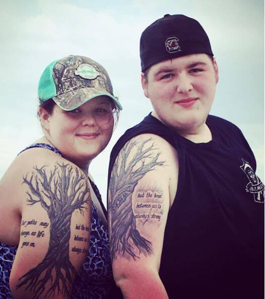 Brothers And Sister Matching Trees And Quotes Tattoos Design