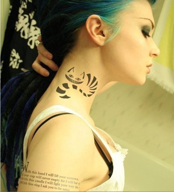 Cat Tattoos On Neck For Women