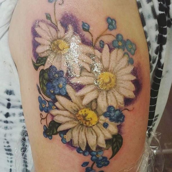 Colored Floral Tattoos Design And Ideas