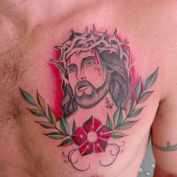 Colorful Jesus Tattoos Design On Chest