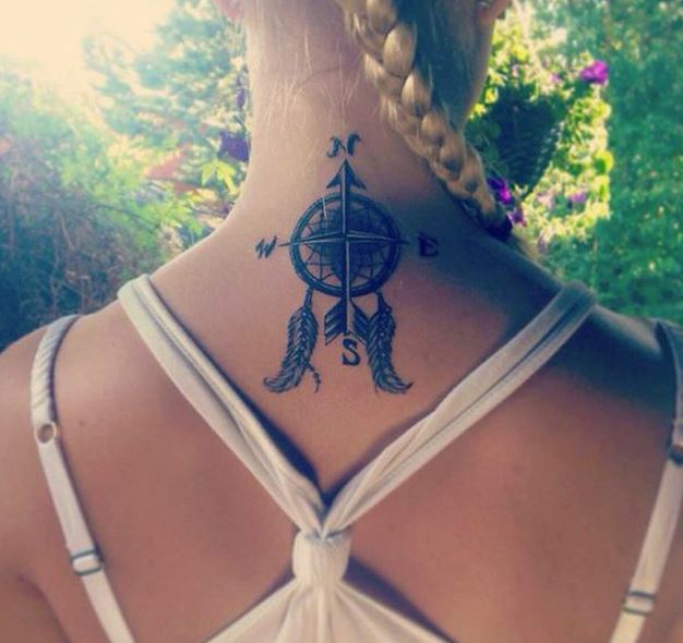 Compass Back Neck Tattoos Design