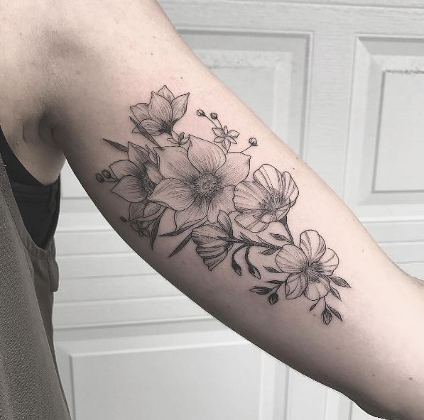 Cool Floral Tattoos Design On Biceps