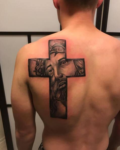 Cross And Jesus Tattoos Design On Men Upper Backside