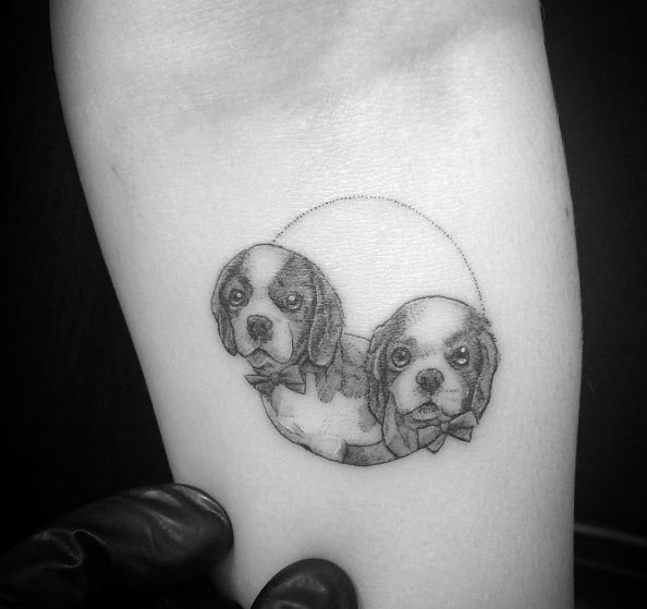 Cute Micro Puppy Tattoos Design On Hands