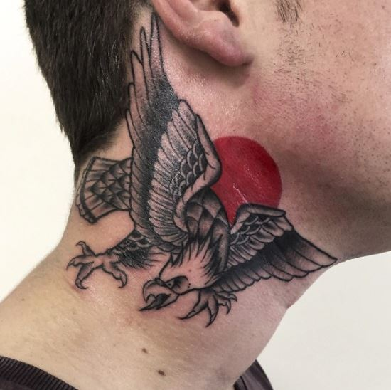Eagle Back Neck Tattoos Design