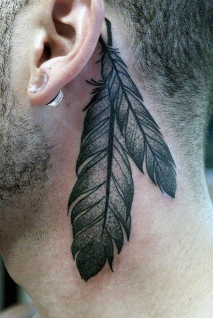 Feather Tattoos Back On Neck