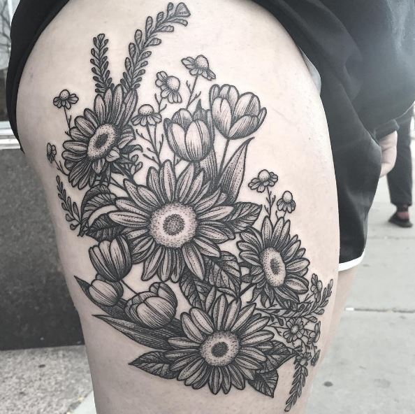 Floral Plants Tattoos Design On Thigh