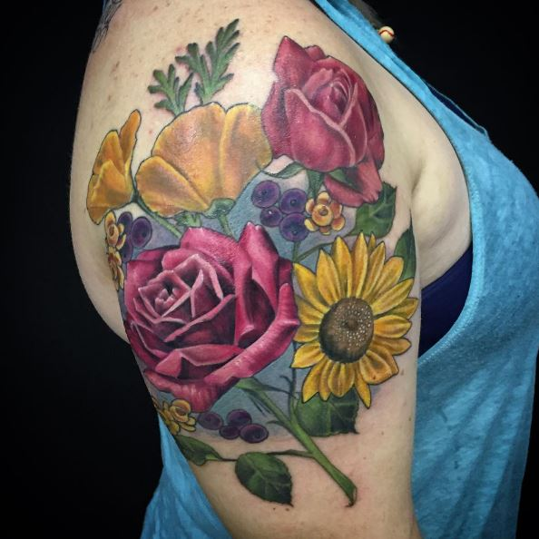Floral Tattoos Design On Biceps