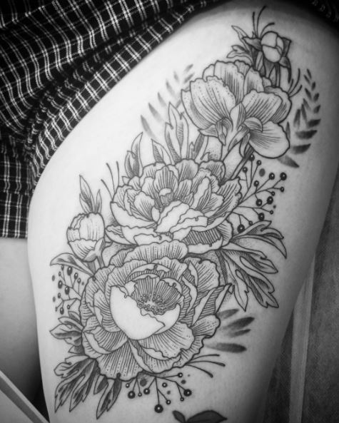 Floral Tattoos Design On Thigh