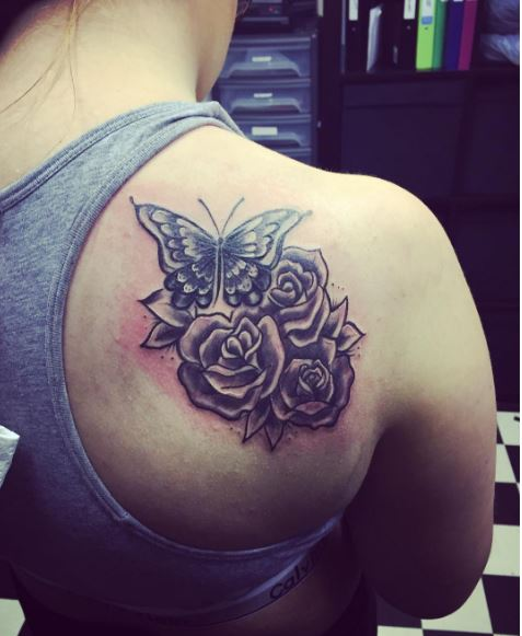 Flower And Butterfly Shoulder Tattoos Design And Ideas