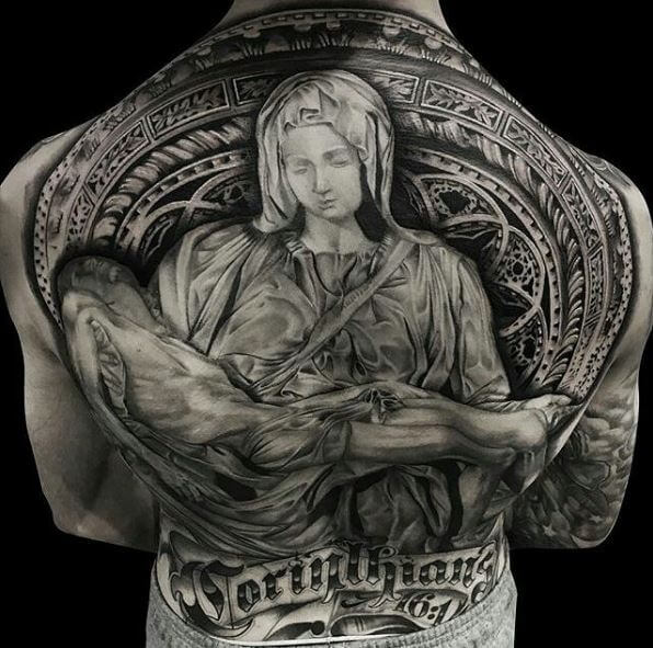 Full Jesus Tattoos Design On Back Side